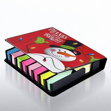 Flip Top Sticky Note Holder with Calendar - Snowman