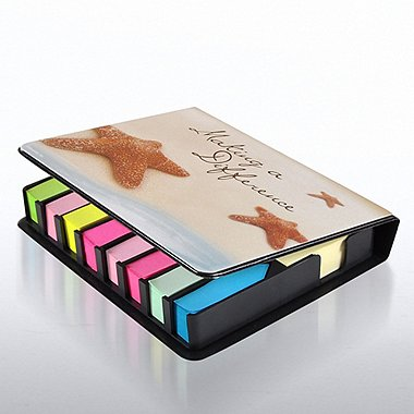 Flip Top Sticky Note Holder w/ Calendar - Starfish