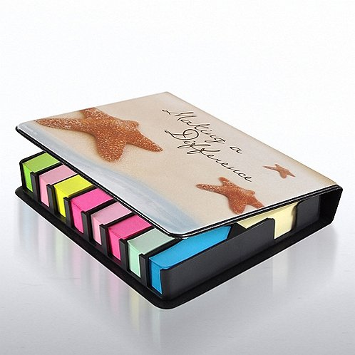 Starfish Flip Top Sticky Note Holder w/ Calendar