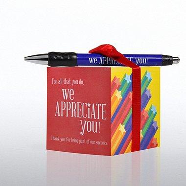 Note Cube & Pen Gift Set - We Appreciate You