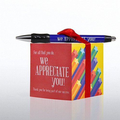 We Appreciate You Note Cube & Pen Gift Set