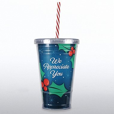 Twist Top Tumbler - Holly & Berries - We Appreciate You