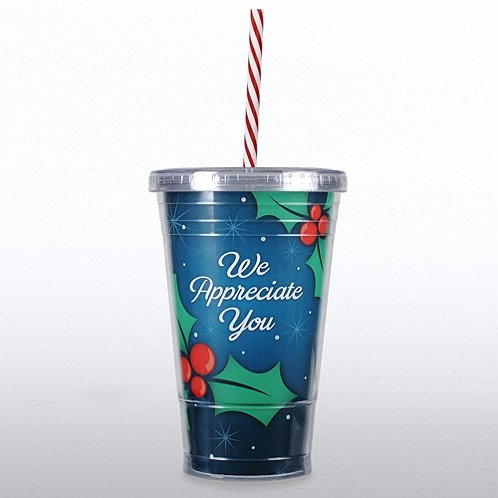 We Appreciate You Holly & Berries Twist Top Tumbler