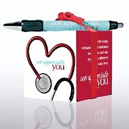 Note Cube & Pen Gift Set - Stethoscope: We Appreciate You