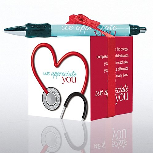 Stethoscope: We Appreciate You Note Cube & Pen Gift Set
