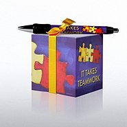 Note Cube & Pen Gift Set - It Takes Teamwork