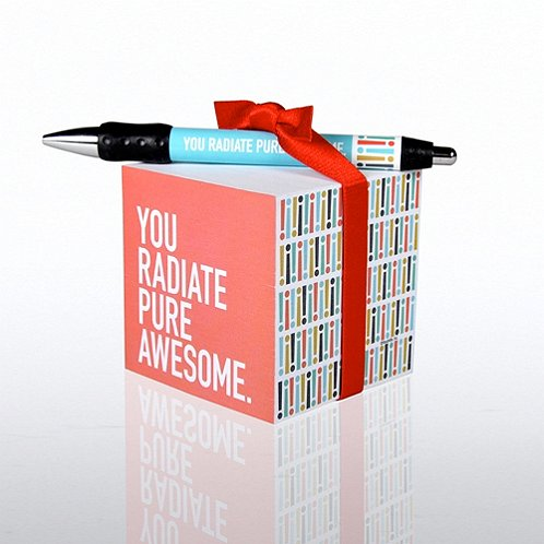 Exclamations- Pure Awesome Note Cube & Pen Gift Set