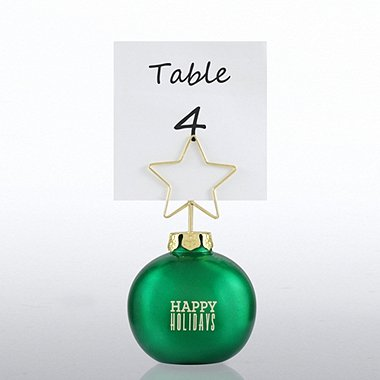 Ornament Memo Clip Holder - Green - Happy Holidays