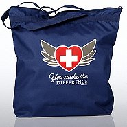 Zippered Tote Bag - You Make the Difference Heart with Wings