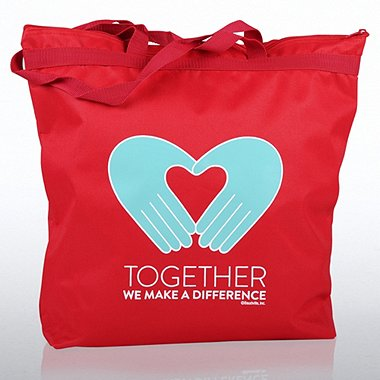 Zippered Tote Bag - Hands: Together We Make a Difference