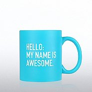 Neon Ceramic Mug - Hello My Name is Awesome - BLUE