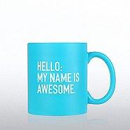 Neon Ceramic Mug - Hello My Name is Awesome - BLUE