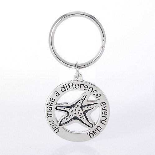 You make a difference every day Nickel-Finish Key Chain