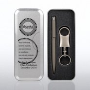 Gun Metal Pen and Valet Key Chain Gift Set in Engraved Tin