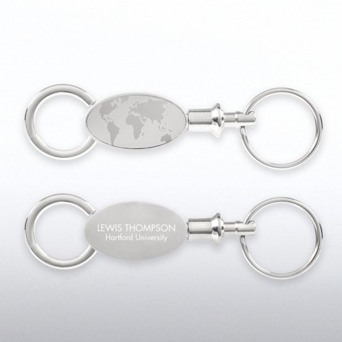 Engravable World of Difference Valet Keychain