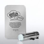 Silver Flashlight with Engraved Tin
