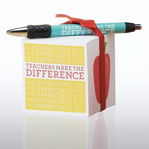 Teachers Make the Difference Note Cube & Pen Gift Set