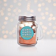 Hot Cocoa Mini Mason Jar - Happy Happy Happy Holidays