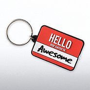 PVC LED Flashlight Keychain - Hello My Name is Awesome