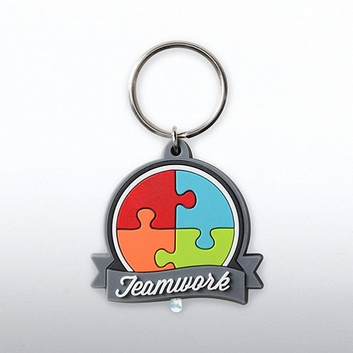 Teamwork: Essential Piece PVC LED Flashlight Keychain