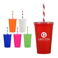 Promotional Value Tumbler with Candy Striped Straw