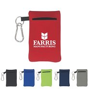 Promotional Neoprene Portable Electronics Case W/ Carabiner