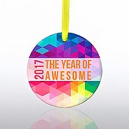Ceramic Slice Value Ornament - 2017: The Year Of Awesome