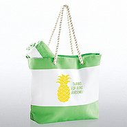 Beach Please Tote and Towel Gift - Thanks for Being Awesome