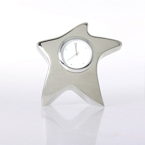 Blank Silver Star Desk Clock