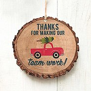 Charming Woodslice Ornament-Thanks For Making Our Team Work