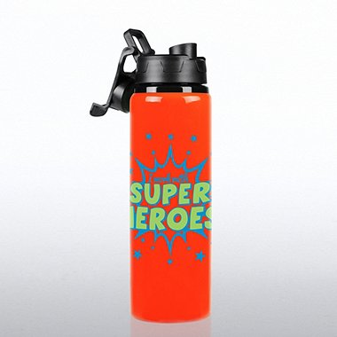 Neon Water Bottle - I Work with Super Heroes