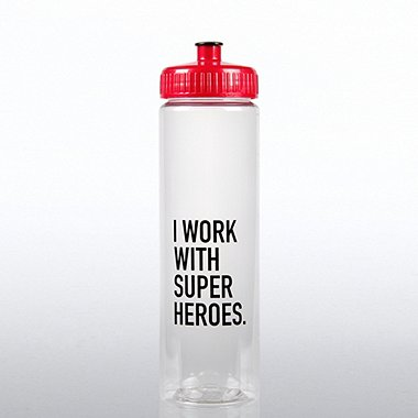 Color Splash Water Bottle - I Work with Super Heros