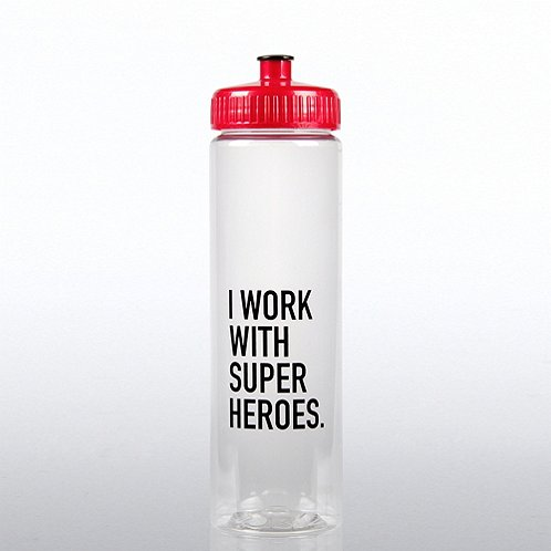 Color Splash Water Bottle: I Work with Super Heros