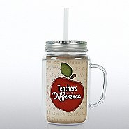 Mason Jar Tumbler w/ Handle - Teachers MTD Apple