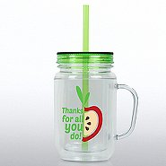 Mason Jar Tumbler w/ Handle - Thanks for All You Do - APPLE