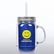 Mason Jar Tumbler w/ Handle - Positively Awesome
