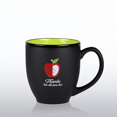 Matte Black Ceramic Mug: Thanks for All You Do! Apple