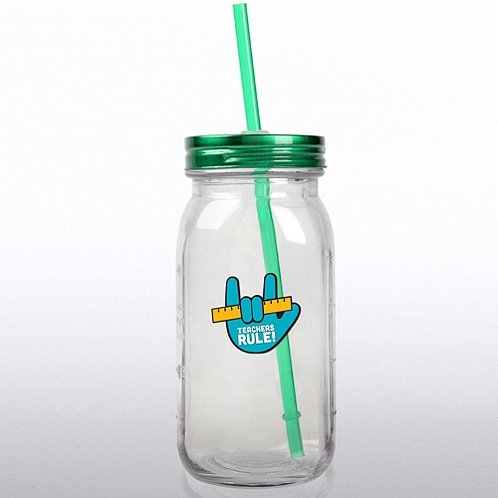 Teachers Rule Glass Mason Jar