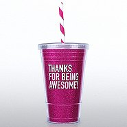 Holiday Glitter Tumbler: Thanks for Being Awesome