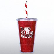 Holiday Glitter Tumbler: Thanks for Being Awesome RED