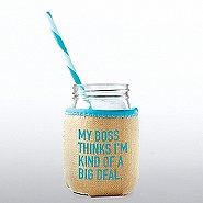 Charming Glass Mason Jar - My Boss Thinks...