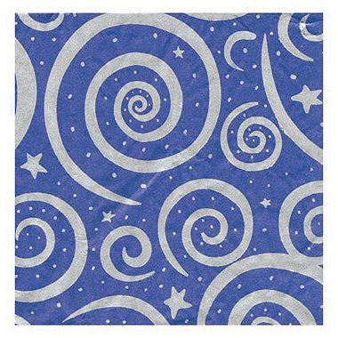 Tissue Paper - Royal w/ Silver Stars & Swirls