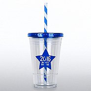 Clear Tumbler w/ Candy Striped Straw - MAD 2016