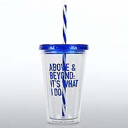 Clear Tumbler w/ Candy Striped Straw - Above & Beyond