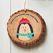 Charming Wood Slice Ornament - Penguin - Team Work