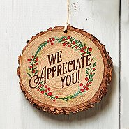 Charming Wood Slice Ornament - We Appreciate You - Wreath