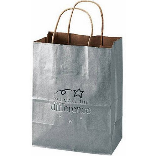 You Make the Difference Silver Kraft Paper Gift Bag