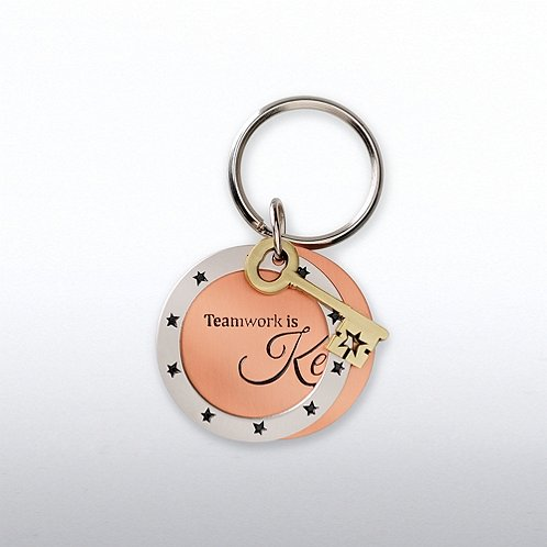 Key: Teamwork is Key Charming Copper Keychain