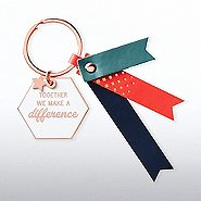 Lovely Leatherette Key Chain - Together We Make A Difference