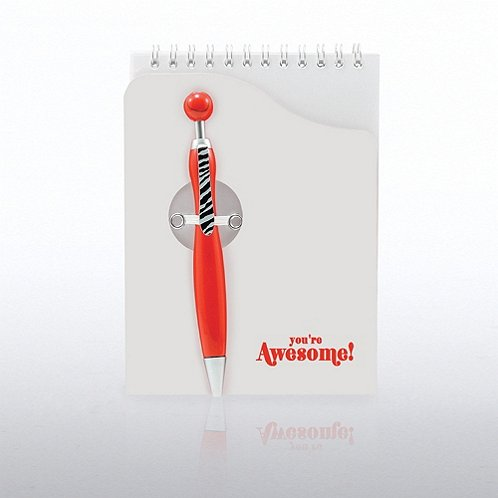 Notepad & Smiley Pen Gift Set - You're Awesome! - Red